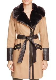 Via Spiga Belted Faux Fur-Trim Asymmetric Coat