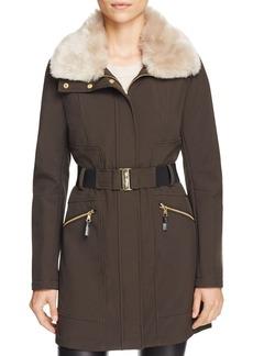 Via Spiga Belted Faux Fur-Trim Coat