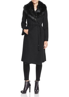 Via Spiga Belted Faux Fur-Trim Wrap Maxi Coat