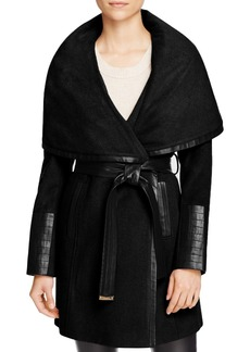 Via Spiga Belted Faux Leather Trim Coat