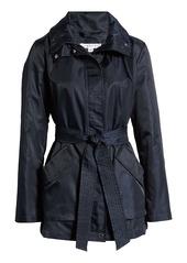 Via Spiga Belted Water Repellent Hooded Raincoat