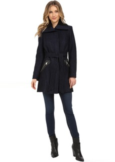 Via Spiga Boiled Wool Coat w/ Knit Collar and Belt