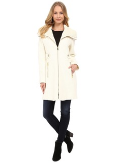 Via Spiga Boiled Wool Coat w/ Knit Collar and Side Tabs