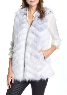Via Spiga Chevron Faux Fur Vest
