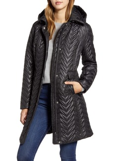 Via Spiga Chevron Quilted Water Resistant Coat