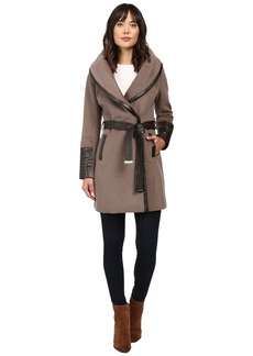 Via Spiga Chic Wrap Coat with Contrast PU Detail and Belt