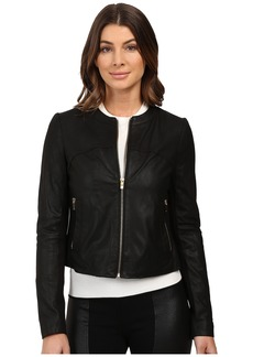 Via Spiga Collarless Center Zip Leather Jacket