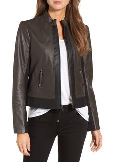 Via Spiga Colorblock Leather Jacket