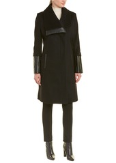 Via Spiga Contrast Wool-Blend Coat