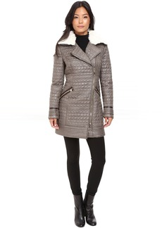 Via Spiga Croc Quilt Asymmetrical Zip with Removable Collar