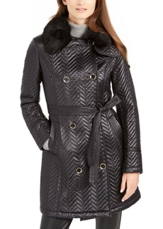 Via Spiga Double-Breasted Belted Quilted Jacket With Faux-Fur Trim