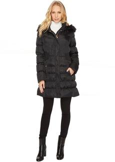Via Spiga Down Coat w/ FF Trimmed Hood and Shirred Sides