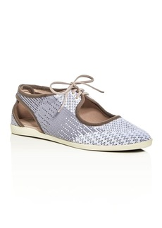 Via Spiga Elliot Woven Cutout Lace Up Sneakers