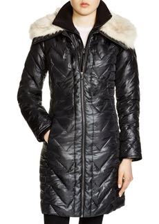 Via Spiga Faux Faux Fur Trim Chevron Puffer Coat