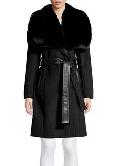Via Spiga Faux Fur Collar Belted Coat