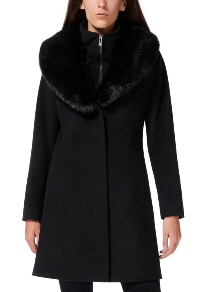 Via Spiga Faux-Fur-Collar Faux-Leather-Trim Coat