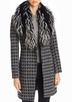 Via Spiga Faux Fur-Collar Houndstooth Reefer Coat