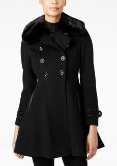 Via Spiga Faux-Fur-Collar Skirted Wool Coat