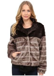 Via Spiga Faux Fur Color Block Coat