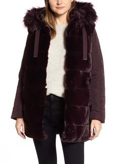 Via Spiga Faux Fur Hooded Puffer Jacket