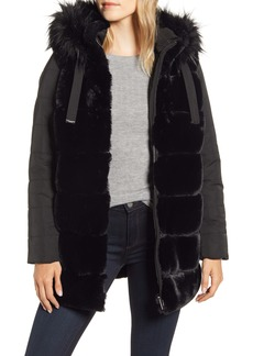Via Spiga Faux Fur Hooded Puffer Jacket