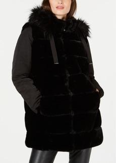 Via Spiga Faux-Fur Puffer-Sleeve Hooded Coat