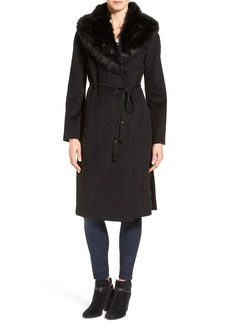 Via Spiga Faux Fur Shawl Collar Wool Blend Wrap Coat