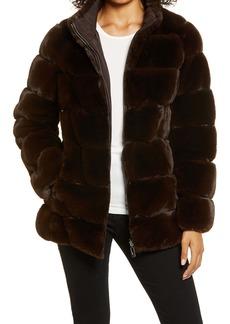Via Spiga Faux Fur Stand Collar Coat