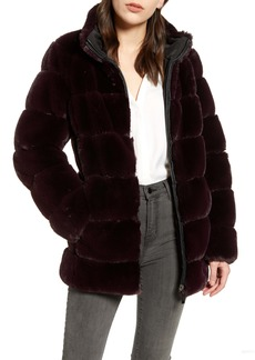 Via Spiga Faux Fur Stand Collar Coat