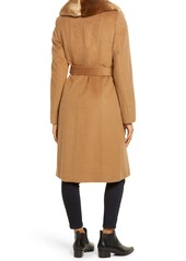 Via Spiga Faux Fur Trim Belted Wool Blend Coat