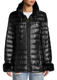 Via Spiga Faux Fur-Trim Coat