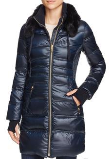 Via Spiga Faux Fur-Trim Down Coat