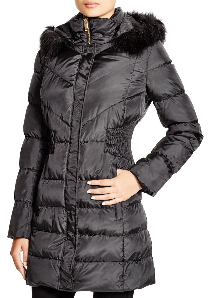Via Spiga Faux Fur Trim Hooded Puffer Jacket