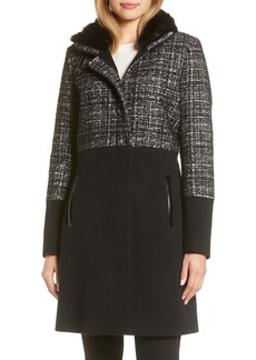 Via Spiga Faux Fur Trim Mix Media Stand Collar Coat