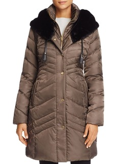 Via Spiga Faux Fur Trim Pillow Collar Puffer Coat