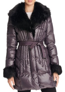 Via Spiga Faux Fur Trim Puffer Coat