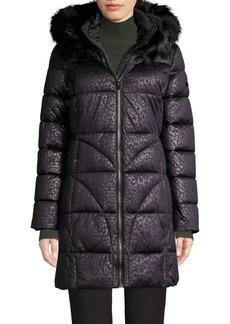 Via Spiga Faux Fur-Trim Quilted Coat