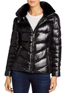 Via Spiga Faux Fur-Trim Short Puffer Coat
