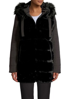 Via Spiga Faux Fur-Trim Velvet Puffer Coat