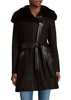 Via Spiga Faux Fur-Trimmed Hooded Coat
