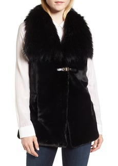 Via Spiga Faux Fur Vest with Buckle