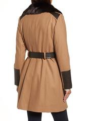 Via Spiga Faux Leather & Faux Fur Trim Belted Wool Blend Coat