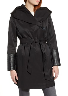 Via Spiga Faux Leather Trim Rain Jacket