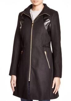 Via Spiga Faux Leather-Trim Zip Coat