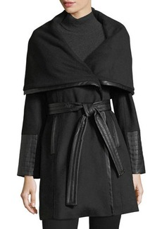 Via Spiga Faux-Leather Trimmed Wool Wrap Coat