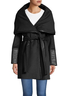 Via Spiga Faux-Leather Waist-Tie Walker Coat