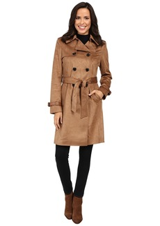 Via Spiga Faux Suede Double Breasted Belted Trench