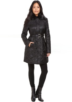 Via Spiga Fly Away Braided Quilt with Luxe Faux Fur Collar