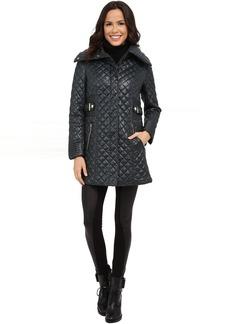 Via Spiga Hidden Zip Front Quilt Coat w/ Side Tab Detail