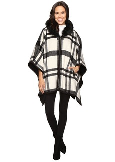 Via Spiga Hooded Cape with Faux Fur Trim